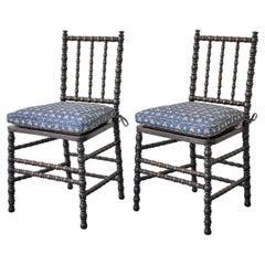 Pair of Bobbin Turned Chairs in Dark Oak, England, 19th Century