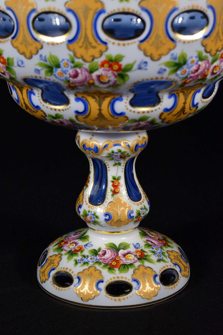Engraved Pair of Bohemian Antique Light Cobalt Glass Overlaid Opal Fruit Bowls For Sale