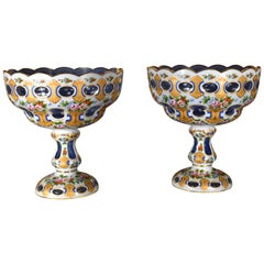 Pair of Bohemian Antique Light Cobalt Glass Overlaid Opal Fruit Bowls