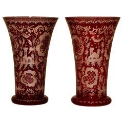 Pair of Bohemian Flashcut Cranberry Glass Vases