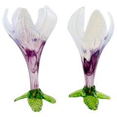 Pair of Bohemian Floriform White, Purple and Green Art Glass Flower Vases