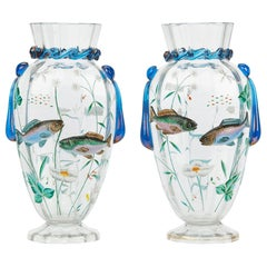 Pair of Bohemian Harrach Art Glass Vases Applied with Fish, circa 1900