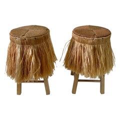 Pair of Boho Chic Raffia Skirt with Jute Seat Stools