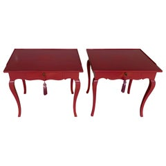 Pair of Bold Mauve Lacquered End/ Nightstands Tables