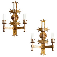 Pair of Bold Scale French Three-Arm Gilded Iron Two Tier Sconces, circa 1920