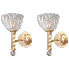 Pair of Bollicine Cups Sconces by Barovier e Toso, 3 Pairs Available