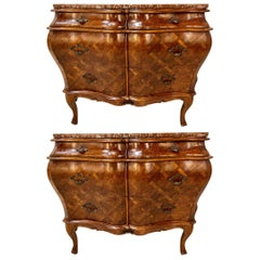 Pair of Bombay Commodes, Nightstands or Chests, Italian Olive Wood Marble Top
