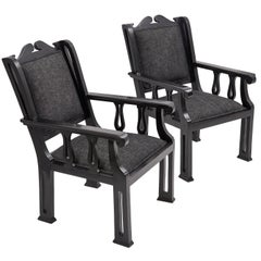 Pair of Bombay Deco Ebony Armchairs India, 20th Century