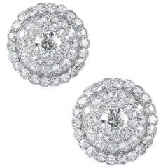 Pair of Bombe Diamond-Set Earrings