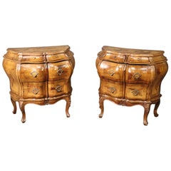 Pair of Bombe Italian Rococo Burled Olive Wood Nightstands Commodes, circa 1940