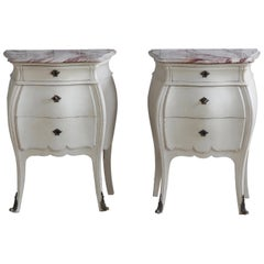 Pair of Bombe Louis XV Style Painted Bedside Tables with Marble Top