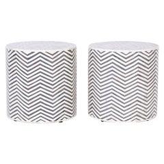 Pair of Bone Inlaid Drum Tables