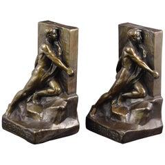Pair of Bookends, Bronze, circa 1920s