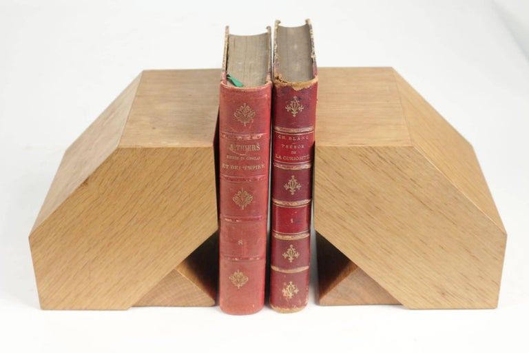 French Pair of Bookends in Light Oak, circa 1960, Midcentury, Vintage Design For Sale