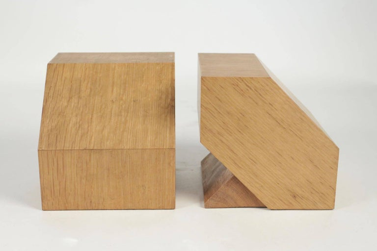 Wood Pair of Bookends in Light Oak, circa 1960, Midcentury, Vintage Design For Sale