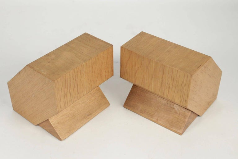 Pair of Bookends in Light Oak, circa 1960, Midcentury, Vintage Design For Sale 1