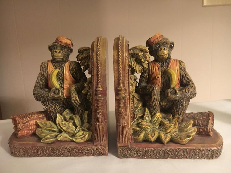 Pair of bookends with monkeys, a handsome pair of monkey's, whimsical and colorful. Perfect for any room or shelf, especially the Childs room. Material is resilient composition.