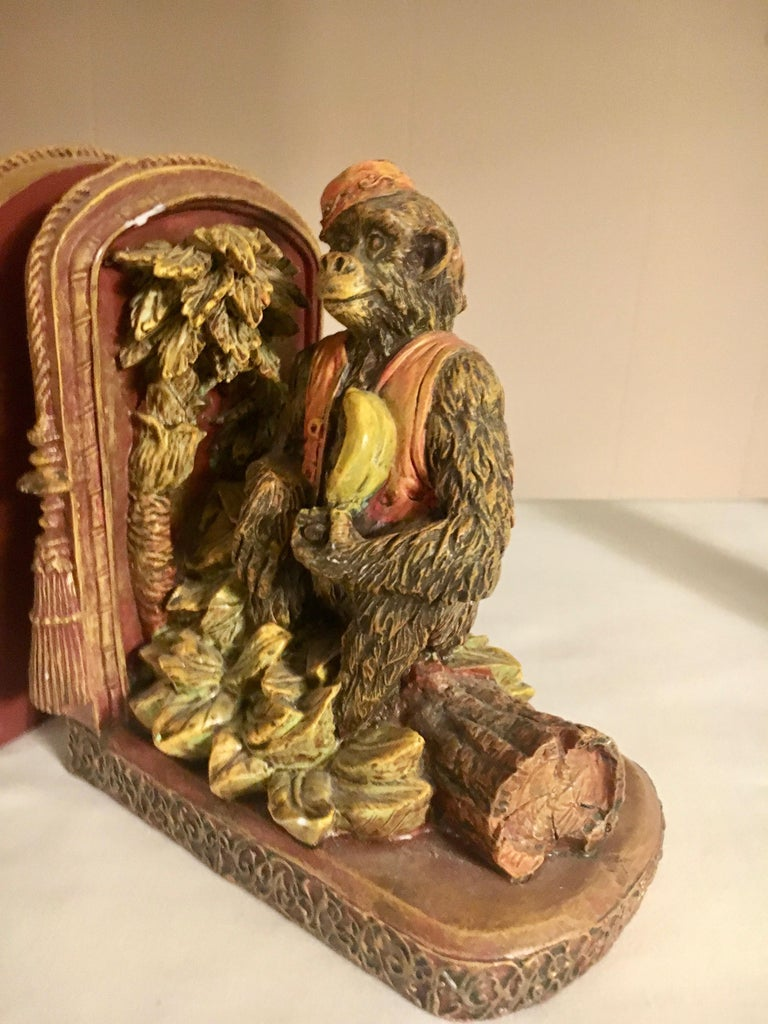 20th Century Pair of Bookends with Monkeys For Sale