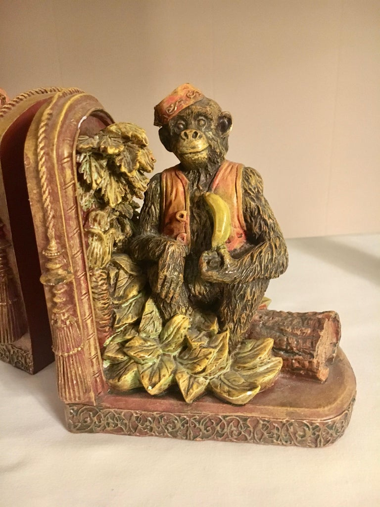 Pair of Bookends with Monkeys For Sale 1