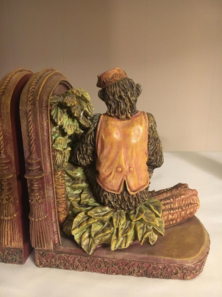 Pair of Bookends with Monkeys For Sale 3