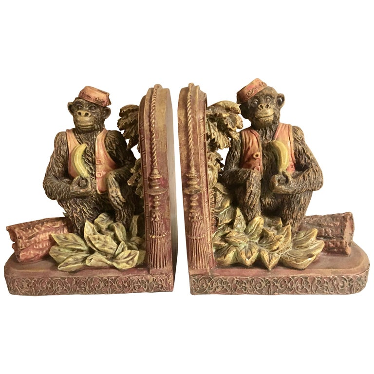 Pair of Bookends with Monkeys For Sale