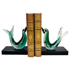 Pair of Bookends with Murano Glass Birds, Italy, 1950