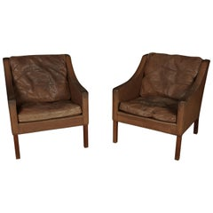 Pair of Borge Mogensen Lounge Chairs from Denmark, circa 1970