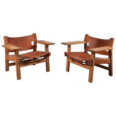 Pair of Borge Mogensen Spanish Chairs for Fredericia, Denmark, 1950