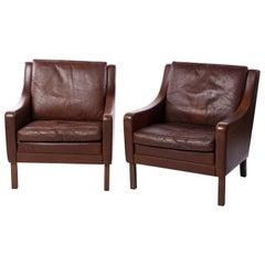 Pair of Borge Mogensen Style Danish Midcentury Leather Easy Chairs