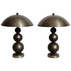Pair of Boris Lacroix Stacked Nickel Plate & Brass Table Lamps with Dome Shades