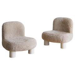 Pair of Botolo Chairs by Cini Boeri for Arflex in Shearling