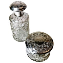 Pair of Bottle and Vanity Box Cut Crystal and Chiseled Silver, Spain