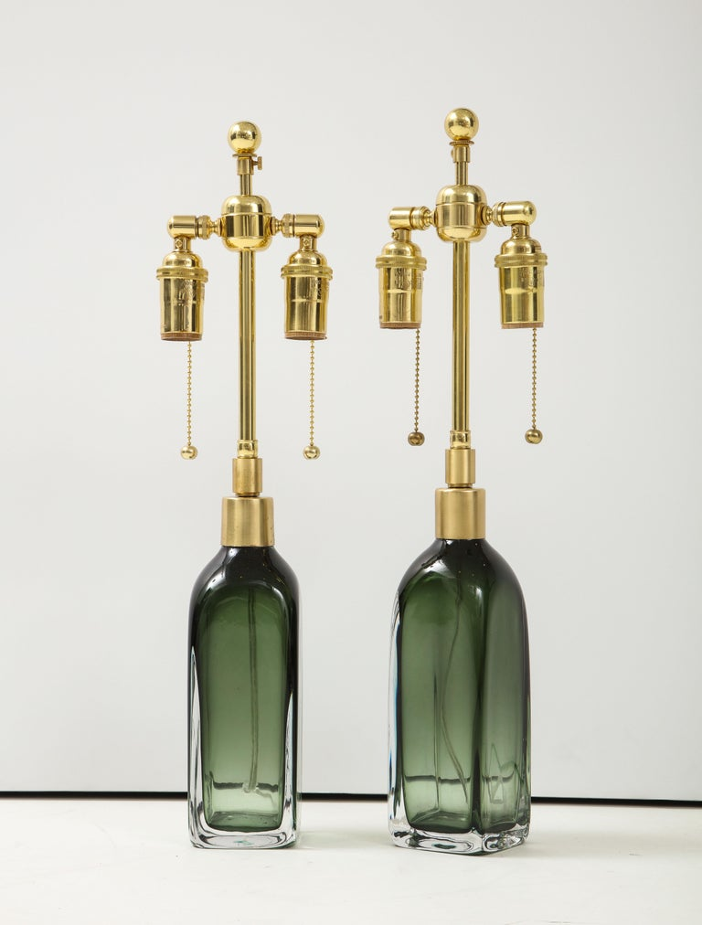 Scandinavian Modern Pair of Bottle Green Crystal Lamps by Orrefors For Sale