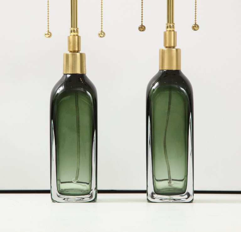 Swedish Pair of Bottle Green Crystal Lamps by Orrefors For Sale