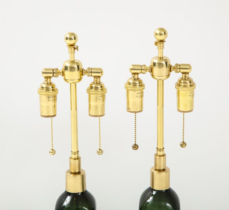 Pair of Bottle Green Crystal Lamps by Orrefors In Good Condition For Sale In New York, NY