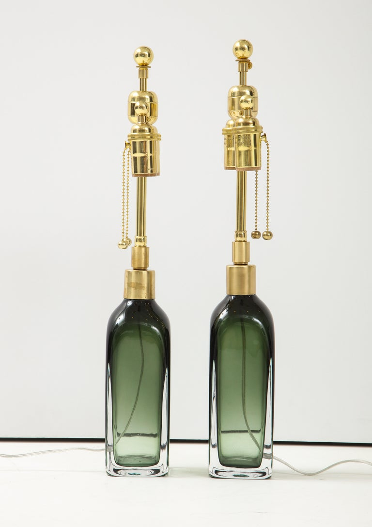 Late 20th Century Pair of Bottle Green Crystal Lamps by Orrefors For Sale