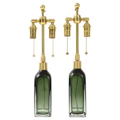 Pair of Bottle Green Crystal Lamps by Orrefors