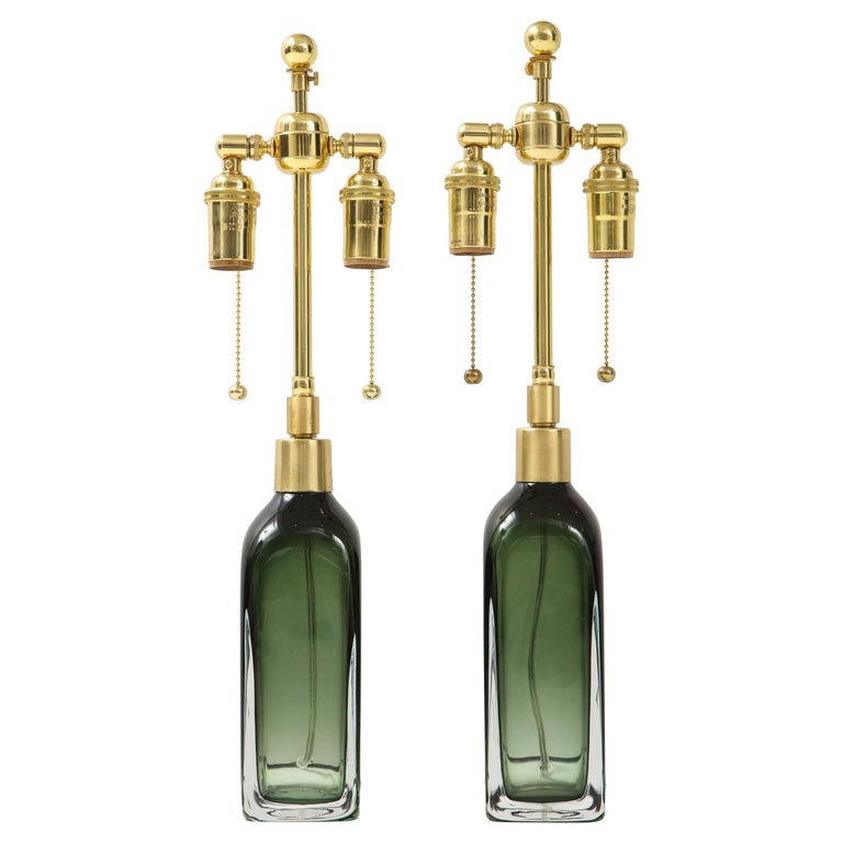 Pair of Bottle Green Crystal Lamps by Orrefors For Sale