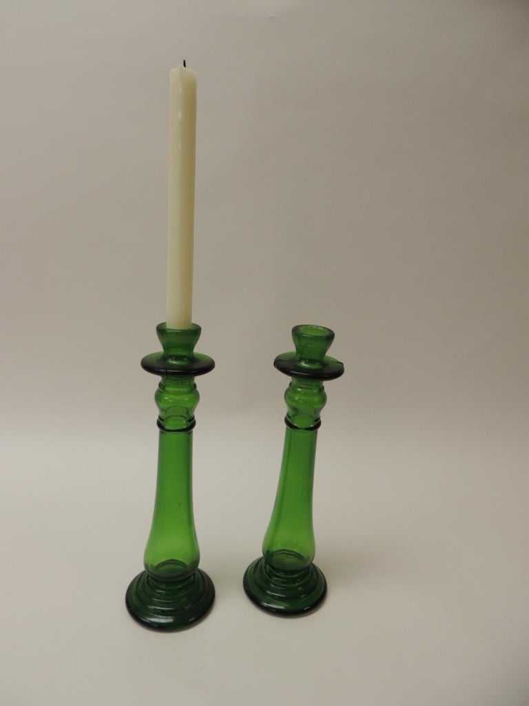 Pair of Bottle Emerald Green Handcrafted Italian Candleholders In Good Condition For Sale In Fort Lauderdale, FL