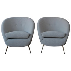 Pair of Bouclé Lounge Chairs, Italy, 1950s