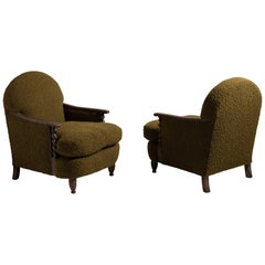Pair of Boucle Wool Armchairs
