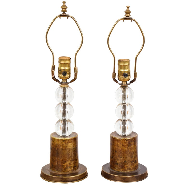 Pair of Boudoir lamps with Crystal Orbs on Brass Base