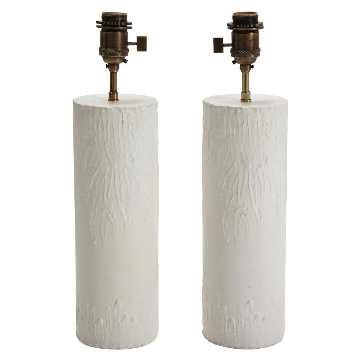 "Pair of ""Bougies"" Plaster Lamps by Facto Atelier Paris, France, 2020"
