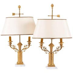 Pair of Bouillotte Lamps, Restoration Style, in Gilt Bronze, circa 1950