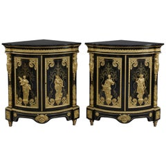 Pair of Boulle Marquetry Inlaid Corner Cabinets by Béfort Jeune, circa 1870