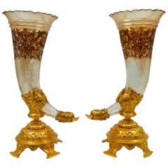 Pair of Bouquetières, Enameled Gilt Bronze and Crystal Vases