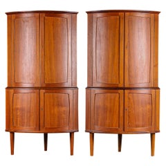 Pair of Bow Front Teak Corner Cabinets