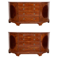 Pair of Bowfront Burl Walnut Sideboards Cabinets