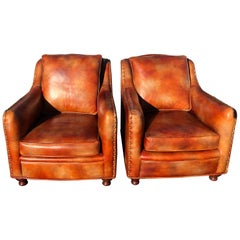 Pair of Bradington Young High Grade Leather Club Chairs