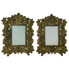 Pair of Bradley and Hubbard Fleur de Lis Brass Frames